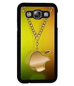 PRINTVISA Golden aple Logo Premium Metallic Insert Back Case Cover for Samsung Galaxy E5 - E500F - D5912