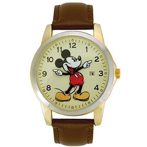 Disney Mickey Mouse MCK326 oro & Unisex in pelle, con orologio con movimento