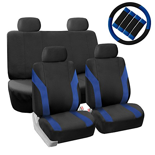 FH GROUP Pique Fabric Full Set Seat Covers with Steering Wheel Covers and Seat Belt Pads Blue / Black- Fit Most Car, Truck, Suv, or Van (Purple And Blue Car Seat Cover compare prices)