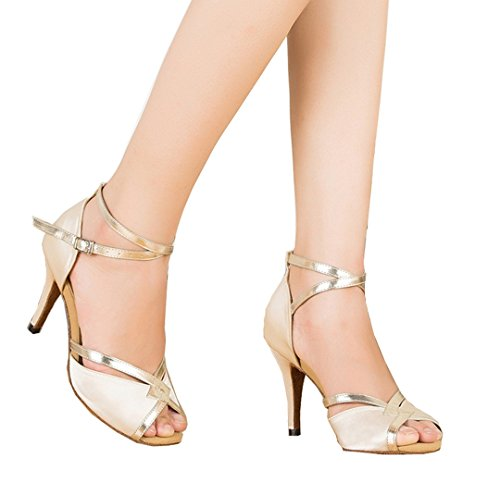 TDA CM106 Womens Ankle Strap Beige Satin Latin Modern Samba Rumba Wedding Dance Shoes 8.5 M US
