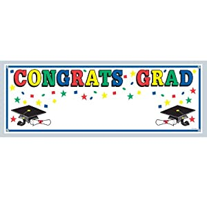 Lets Party By Beistle Company Congrats Grad Graduation Sign Banner
