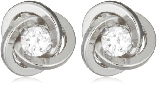 9ct White Gold R0107 Cubic Zirconia Knot Earrings
