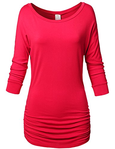 3/4 Sleeve Side Shrring Solid Color Drape Tops