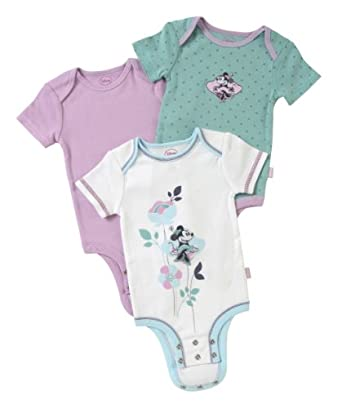 Disney Cuddly Bodysuit - Fashion 3 Pack: Minnie Mouse Polka Dots, White/Lilac/Green, 3-6 Months