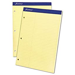 Double Sheet Pad, Law Rule, 8-1/2 x 11-3/4, Canary, Perfed, 100 Sheets, Sold as 1 Pad