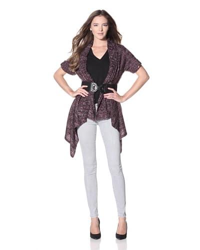 Dex Women's Melange Belted Sweater  – Merlot/Charcoal Melange