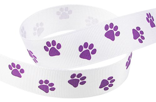 HipGirl Brand Printed Grosgrain Ribbon, 5 -Yard 7/8-Inch School Spirit Paw Prints, White/Purple (Team Spirit Bottle Holder compare prices)