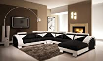 Hot Sale Vig Furniture 7395 Black & White Bonded Leather Sectional Sofa
