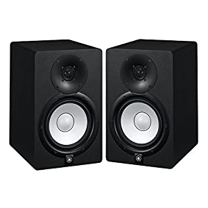 yamaha hs7 active studio monitors w speaker stands and trs to xlr male cables. Black Bedroom Furniture Sets. Home Design Ideas