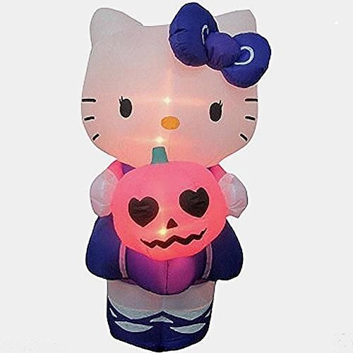 Halloween Decoration Lawn Yard Inflatable Airblown Hello Kitty Holding Pumpkin 5' Tall front-301567