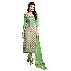Aagaman Fashion Blended Cotton Unstitched Salwar Suit (TSMDESK1059_Beige)