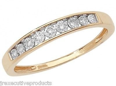 9ct Yellow Gold Illusion Set Diamond Half Eternity Ring 0.06ctw sizes G - W