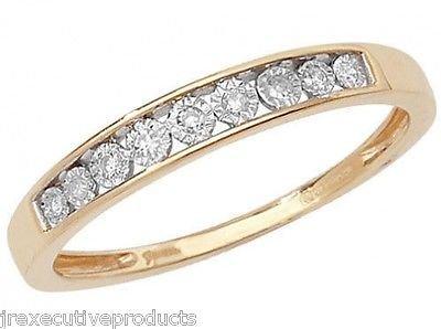 9ct Yellow Gold Illusion Set Diamond Half Eternity Ring 0.06ctw sizes G - W