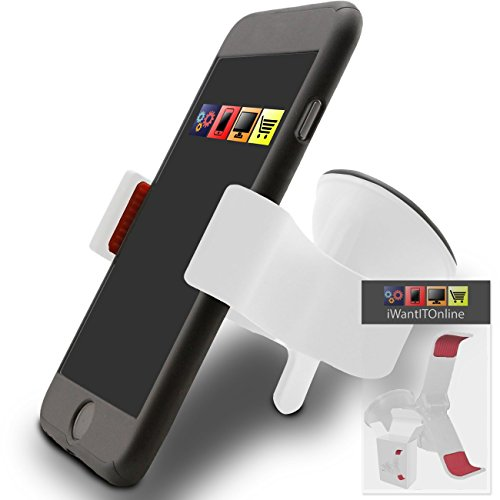 IWIO Sony X10 Mini Xperia White SuperClaw Multi-Directional Dashboard / Windscreen, Case Compatible (Use with or without your existing case!) Clip On Suction Mount In Car Holder (Xperia X10 Mini Case compare prices)