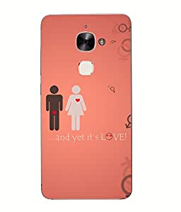 Snazzy Love Printed Red Hard Back Cover For Letv Le Eco Le 2