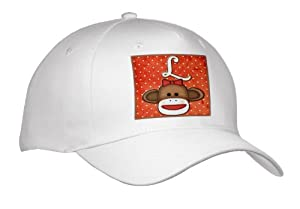 Dooni Designs Monogram Initial Designs - Cute Sock Monkey Girl Initial Letter L - Caps