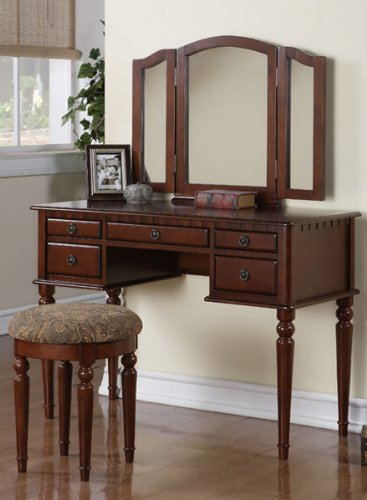 Elegant 3pcs Cherry Finish Wood Vanity Set #Pd41071
