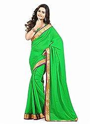 Clothsguru Women's Chiffon Saree with Blouse Piece (Green)