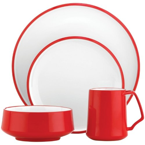 Dansk Kobenstyle 16 Piece Chili Red Stoneware Dishware Set, Service For 4
