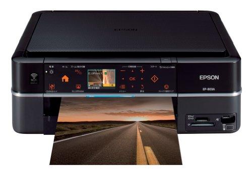 EPSON Colorio インクジェット複合機 EP-803A 有線・無線LAN標準搭載 カンタンLEDナビ搭載 前面二段給紙カセット 6色染料インク ブラックモデル