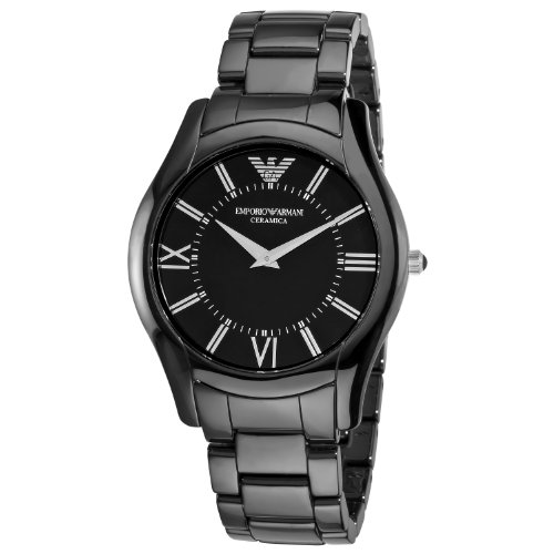 Emporio Armani Men's AR1440 CeramicSlim Black Dial Watch