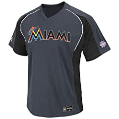 MLB Miami Marlins Mens Cleanup Hitter V-Neck Short Sleeve Raglan Fashion Top, Granite... by Majestic