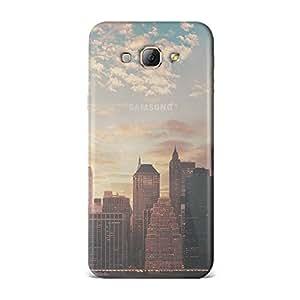 Samsung A8 [Transparent Hard Plastic Cover] Printed Design - Cityscape Skyline Sunset Case