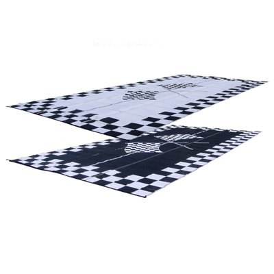 RV Patio Mat 9x12 Finish Line Checkered Flags Mat
