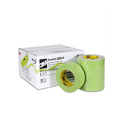 3M Scotch 233+ Performance Critical Edge Masking Tape, 25 lbs/in Tensile Strength, 55m Length x 48mm Width, Green