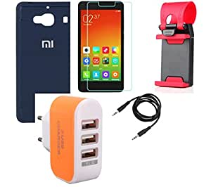 NIROSHA Tempered Glass Screen Guard Cover Case Mobile Holder Charger for Xiaomi Redmi 2s - Combo