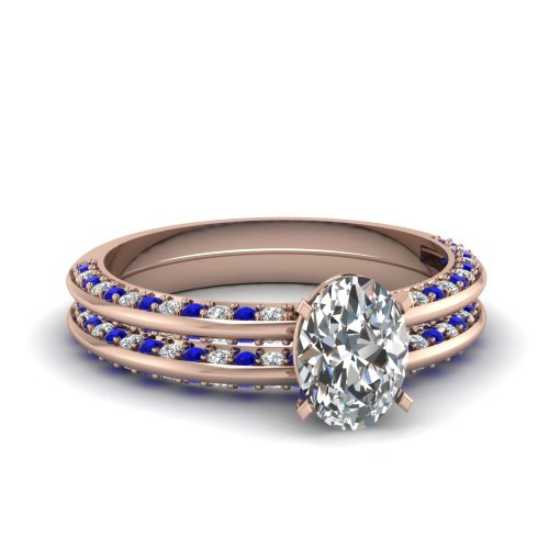 Fascinating Diamonds 2 Ct Oval Shape Si2 Diamond & Blue Sapphire Knife Edge Bridal Rings Pave Set 14K Gia