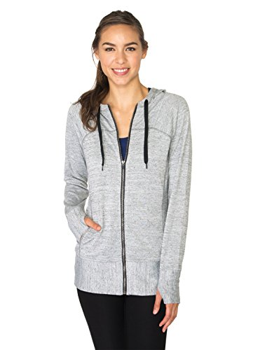 RBX Active Women's Lightweight Sweater Zip Hoodie Jacket with Contrast Trim