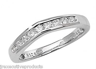 J R Jewellery 409127 9ct White Gold Diamond Soft Wishbone Eternity Ring 0.33CTW