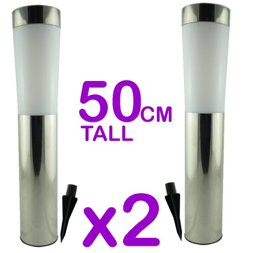 Pack 4 - Solar Powered Garden Post Tube Lights - On/Off Switch - AA Rechargeable Cell Fitted - Weather Resistant Stainless Steel - No Wiring Safe To Use