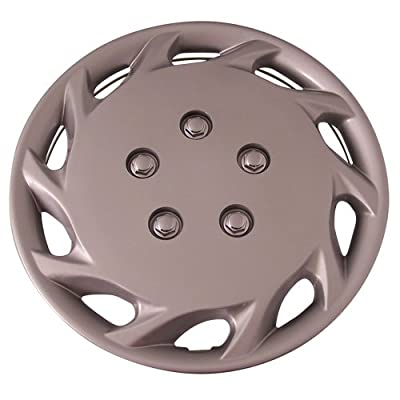 Set of 4 Silver 14 Inch Aftermarket Replacement Hubcaps with Clip Retention System - Part Number: IWCB877/14S