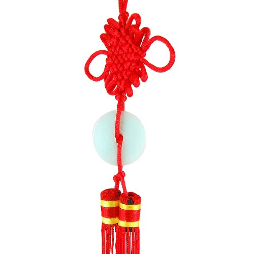 Amico Red Tassel Faux Jade Pendant Chinese Knot Hanging Decor for Auto
