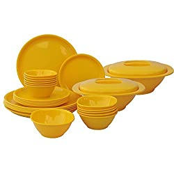 Incrizma Plastic Round Plate and Bowl Set, 28-Pieces, Yellow