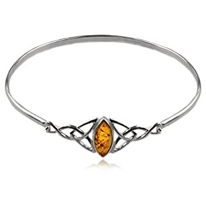 Baltic Honey Amber Sterling Silver Celtic Love Knots Bracelet 19cm