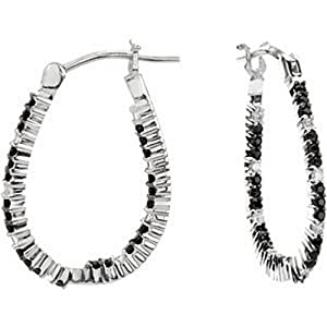 IceCarats Designer Jewelry 14K White Gold Genuine Black Spinel And Diamond Hoop Earrings. Pair 1/3 Ct Tw
