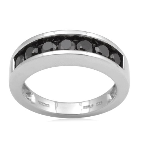 Sterling Silver Black Diamond Anniversary Ring (1 cttw, I-J Color, I3 Clarity), Size 6
