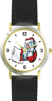 Santa Claus With List On Phone Christmas Theme - Watchbuddy® Deluxe Two-Tone Theme Watch - Arabic Numbers - Black Leather Strap-Children'S Size-Small ( Boy'S Size & Girl'S Size )