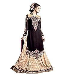 Mahaveer Fashion Women's Faux Georgette Semi-Stitched Anarkali (herrite_Black_Free Size)