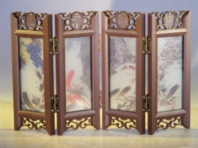 Bonsai Boy's Mini Shoji Screen With Glass Framed Pictures of Japanese Koi on Both Sides