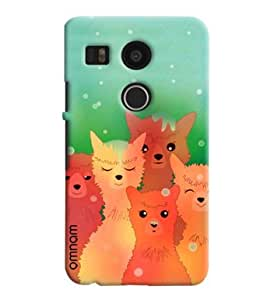 Omnam Wolf And Cats Posing Printed Designer Back Cover Case For Goolge Nexus 5 X