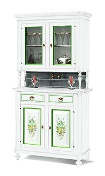 Cristalliera in lgeno finitura bianco con decori, 2 porte, 2 ante e 2 cassetti