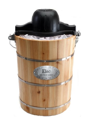 MaxiMatic EIM-506 Elite Gourmet 6-Quart Old-Fashioned Pine-Bucket Electric/Manual Ice-Cream Maker
