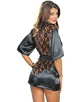 ISASSY® Nuisette Femme Satin Dentelle Lingerie Sexy avec String Robe Babydoll Chambre de Nuit - Noir