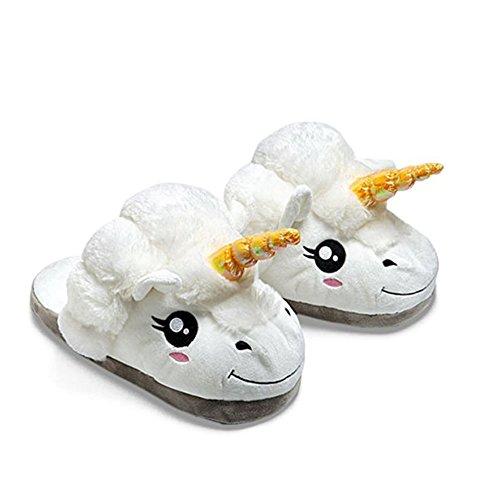 WLM Chaussures mignon Licorne coton pantoufles chaudes farfelus soft peluche hiver Accueil