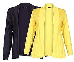 Ten on Ten Womens Pair of Yellow/ Navy Blue Long Shrug
