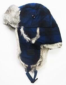 Chaos Men's Muscle Wool Blend Trapper Hat (Blue Plaid, Unisex)